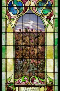 """Four windows portray the Parable of the Sower.  Attributed to Jesus, it is found in all of the Synoptic Gospels (at Mark 4:1-20, Matthew 13:1-23, and Luke 8:1-15) as well as in the Gospel of Thomas (Thomas 9). The parable can be interpreted to illustrate different reactions to the gospel message. A sower dropped seed on the path, on rocky ground, and among thorns, and the seed was lost; but when seed fell on good earth, it grew, yielding thirty, sixty, and a hundredfold. The seed is the word or gospel of the kingdom. In this window, the seed has taken root and is flourishing with abundance. The """"good ground"""" represents the one who hears the word and understands it.    George Lobingier was born in Pennsylvania December 9, 1832 and after teaching school for a time, studied law. He practiced law for seven years, then decided to prepare himself for the ministry and studied in the biblical department of Hiram College where James A. Garfield (later president of the United States) was his instructor. Lobingier held pastorates in a number of states and in Canada. For some time he preached at the First Christian Church of New York City and also for the church in Washington, D.C. while James A. Garfield was in congress and a regular attendant. While preaching in Thayer County, Nebraska, he was elected and reelected County Judge for three terms beginning in 1883. Lobingier's wife also grew up in Pennsylvania and while young, listened to the preaching of Charles Louis Loos, a companion of the early fathers of the Christian Church (Disciples of Christ). Charles S. Lobingier, a son, became a noted author and lawyer, serving as a U.S. judge in the Philippines and China. This window (which cost $50) was already installed in the church at the time of George Lobingier's death in April 1909, so the memorial is noted on a piece of clear glass leaded onto the stained glass panel."""